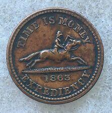 1863 Time Is Money Hussey'S Post Ny Civil War Era Token Copper Cwt Locomotive