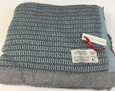 Scarlet & Argent Leno Thermal Weave Slate/Duck Egg Queen Size Made in England