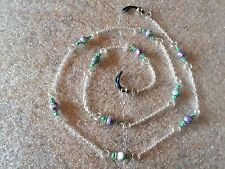 Rainbow Stone, Purple Green, Beaded Sunglasses Eyeglass Glasses Chain Neck Strap