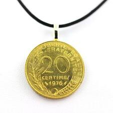 """Pendentif Pièce de Monnaie Authentique """" France """" 20 centimes Marianne + cordon"""