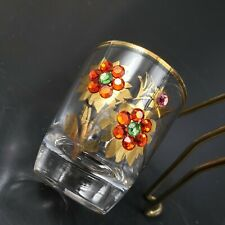 Floral Shot Glass with Applied Crystals RUHRGLAS Germany