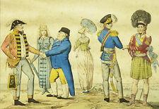 Rare gravure ancienne Ecosse English scottish costume Victorian fashion uniform