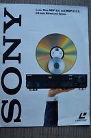SONY KATALOG 1991,SEITEN 4,LASER DISC MDP 333,MDP 533 D,TECHISCHE DATEN,AUDIO