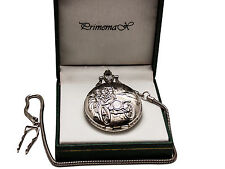 """Primemax:""""Silver Classic Car"""" Pocket Watch,Silver Finish,With Chain"""