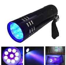 Aluminum Mini Black 9 LED UV Ultra Violet Flashlight Blacklight Torch Light Lamp