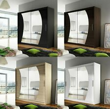 "New Bedroom Wardrobe ""BRAVA 9"" Sliding Doors Mirror Hanging Rail Shelves 180 cm"