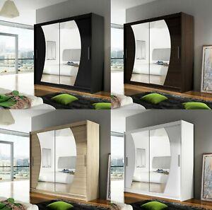 "New Bedroom Wardrobe ""BRAVA 9"" Sliding Doors Mirror Hanging Rail Shelves 180 cm"