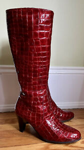 La Canadienne Mebelle Women's Red Croc Pattern Tall Knee Boots Size 9.5M