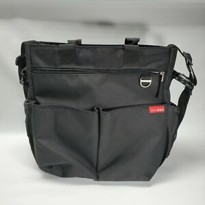 SKIP HOP DUO Signature Diaper messenger Bag Black Crossbody Travel  Pocket