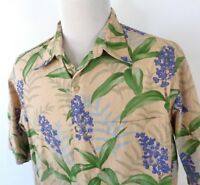 Reyn Spooner XL Hawaiian Shirt Blue Ginger Floral Button Up SS 100% Cotton