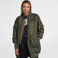 Nike Sportswear NSW Green Parka Jacket Coat Size L Womens 932049-395 $225