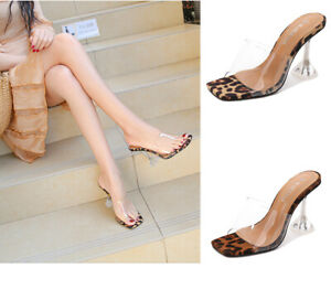 Square Toe Spool Heel Sandals Leopard Drag Queen Mules Plus Sz Jelly Women Shoes