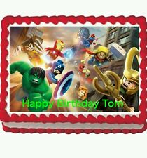 Lego Avengers Hulk Ironman party Edible Cake Topper 1/4 sheet