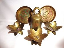 COLLECTION OF VINTAGE BRASS ITEMS~2 ENAMELED MINIATURE TRAYS, BELL, AND MORE