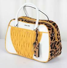 MIU MIU White+Yellow Leopard Print Pony LTD ED Bag Bowler Satchel Handbag NEW