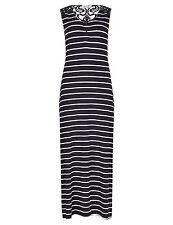 Per Una Rear Lace Striped Maxi Dress Navy UK Size 8 Box1441 L