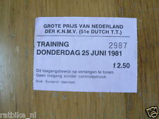 1981 TICKET TRAINING DUTCH TT ASSEN 25-6-1981 MOTO GP TOEGANGSBEWIJS B
