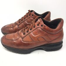 Hogan Interactive Womens Mid-Top Leather Oxford Shoes Brown Sz 37 US 6 M