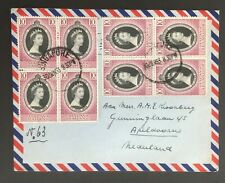 MALAYA PAHANG & SELANGOR 1953 Cover with multiples of 4 coronation stamps