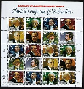 USA Scott# 3158-3165 CLASSICAL COMPOSERS & CONDUCTORS Pane of 20 Stamps - MNH