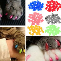 New Soft Cat Pet Nail Caps Claw Control Paws off +Adhesive Glue Size XS-XL 20pcs