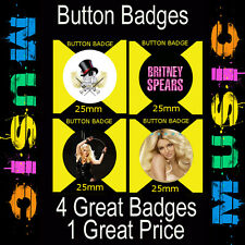 BRITNEY SPEARS  - 4 GREAT BUTTON BADGES - 25mm -CD6754823