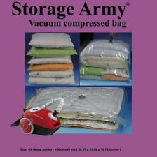 Storage Army [Pack of 5 Mega Jumbo] Sealed Compressed Vacuum Storage Saver Bags