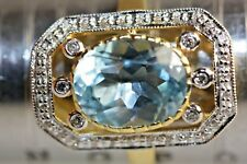 ART DECO STYLE BLUE TOPAZ GOLD SILVER RING SIZE P