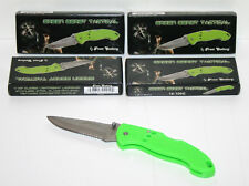"FROST CUTLERY - GREEN BERET TACTICAL, GREEN 4 1/2"" FOLDING KNIFE, LOT OF 5"