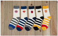 5 Paia Calze cartoni animati SUPEREROI CAPITAN AMERICA Spiderman Batman Superman Logo