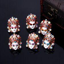 Chinese Traditional Peking Opera Rhinestone Enamel Mask Women Rings Jewelry Hot