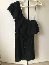 Portmans One Shoulder Dress SiZe 10 Black Ruffles Belted