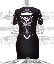 DANE DECO Mid sleeve Slash Dress Cyber Goth Clubwear Podium Bodycon UV