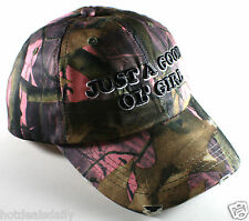 GOOD OL' GIRL PINK CAMO HUNTING CAP DISTRESSED COTTON REDNECK HUNTER HILLBILLY