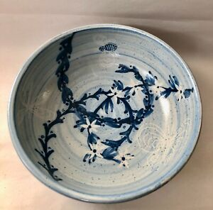 Blue Dorchester Pottery Footed Serving Bowl w Insects and Flowers UNUSED
