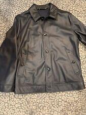 Ermenegildo Zegna Mens Leather Jacket Car Coat  Black Size 56