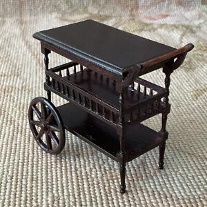 Bespaq Dollhouse Miniature Walnut Tea Liquor Trolley Cart Stand Table 3544