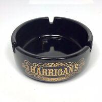 "Vintage Harrigan's Black Porcelain Ashtray Round 3.5"" Gold Design Texas Bar"
