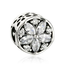 Sterlingsilber 925er Perle Charm Clear Crystals Radiant Flowers Charms Beads