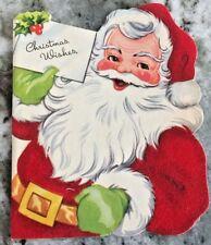1950's Red Felt Santa Christmas Wishes Christmas Card A-Meri-card