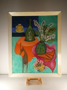 Mid Century Abstract Impressionist Still Life Painting Canvas on Board, Unknown