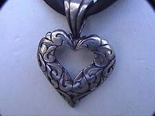 """Designer jezlaine sterling silver heart black ribbon choker up to 18"""" filigree"""