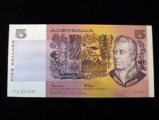 Australian $5 Dollar Johnston / Fraser Paper Banknotes Gothic Serials Unc #PZ29