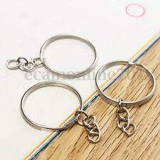 50Pcs Metal Silver Tone Keyring Key Chain Split Rings With Link For DIY Craft