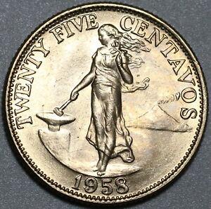 1958 Philippines 25 Centavos Choice BU US Design Coin (20101802R)