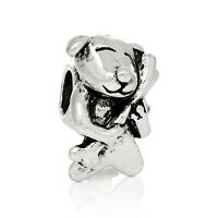 Dog with a Bone Animal Pet Spacer Bead for Silver European Style Charm Bracelets