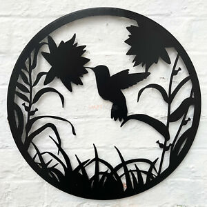 Round Black Metal Silhouette Flower With Hummingbird Scene Garden Wall Art Gift