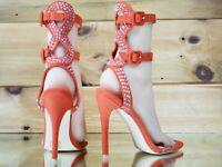 "Mac J Tall Double Strap Cut Out Rhinestone Back 5"" High Heel Ankle Shoe Orange"