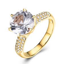 Solid 10K Yellow Gold White Topaz Round 9mm Diamonds Gemstone Ring Fine Jewelry