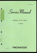 Original Factory Pioneer T-8800/F Reel To Reel Stereo Tape Deck Service Manual